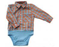 Košilkové body - kostkované oranžové